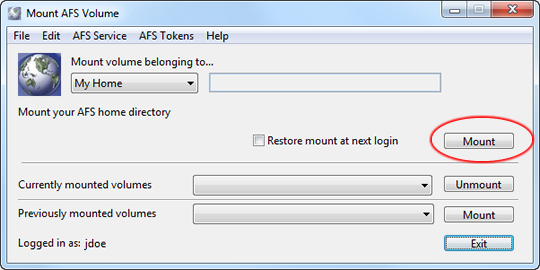 mount your AFS home directory