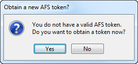 prompt to obtain new AFS token