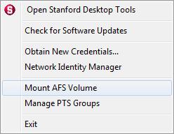 Stanford Desktop Tools shortcut menu