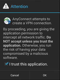 trust the AnyConnect application