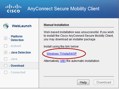 link to Cisco AnyConnect installer