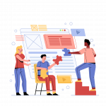 Illustration of people creating a web page