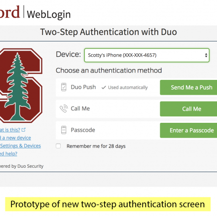 Image of new two-step authentication screen prototype