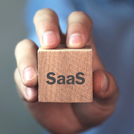 Image of hand holding a cube with the word SaaS on it