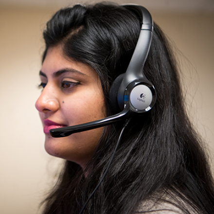 Image of woman with headset