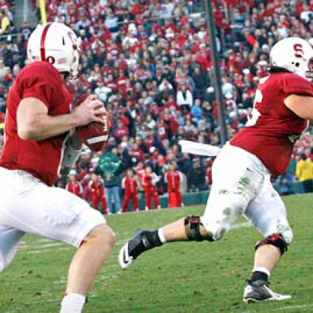Stanford's quarterback prepares to make a pass at the 2013 Rose Bowl game