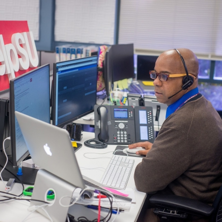 Stephen Lee at his desk.