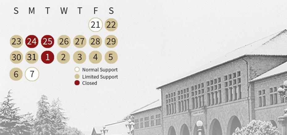 Winter closure calendar