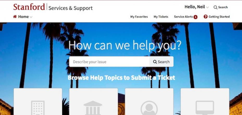 Service & Support Portal homepage