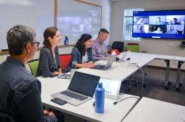 Team meeting with remote participants