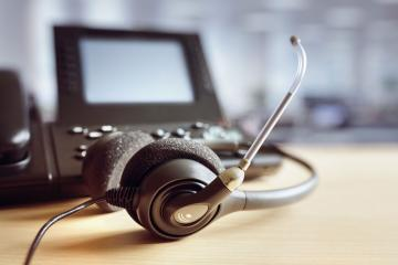 Desk phone with headset