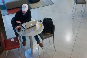 Remote worker at a coffee shop