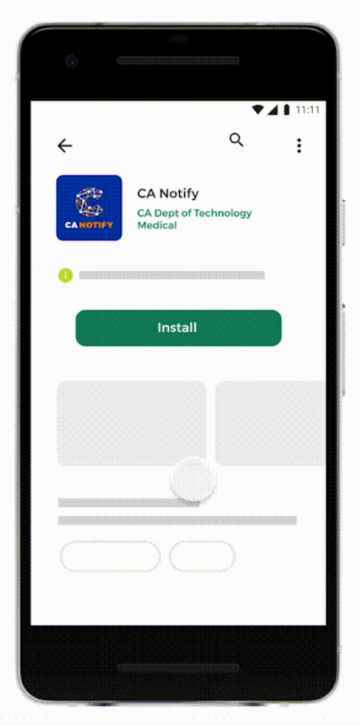 Android screen to install CA Notify